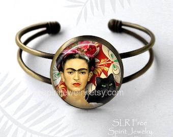 Frida Kahlo Jewelry, Frida Kahlo Bracelet, Boho accessory, art gift, Photo image Jewelry,Women Artist, Art, Black Cat, Frida Kahlo Gift, g9y