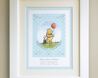FRAMED Personalised Winnie the Pooh CHRISTENING PRINT, Blue, Nursery Picture Gift, Pooh Bear, Framed or mounted, Choice of 3 frames