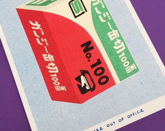 A riso graph print of a package of a can opener