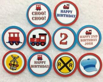 Personalized Set of 50/100/150/200 Train Choo Choo 2nd Birthday Party 1 Inch Confetti Circles