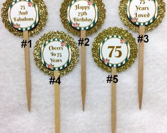Set Of 12 Personalized 75th Birthday Party Cupcake Toppers (Your Choice Of Any 12)