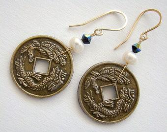 Empress Earrings, White Pearl Chinese Coin Earrings, Pearl Crystal Oriental Earrings, Antique Coin Earrings