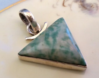 "Tree Agate 925 Sterling Silver Pendant Modern Southwest Style 1.5"" 8 Grams"
