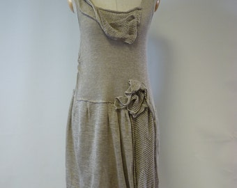 Exceptional natural linen dress, M size. One-of-a-kind.