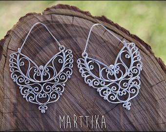 Silver earrings. BUTTERFLY earrings. Tribal jewelry. Gypsy. Ehnic style