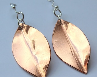 Copper Leaf Earrings with Silver findings