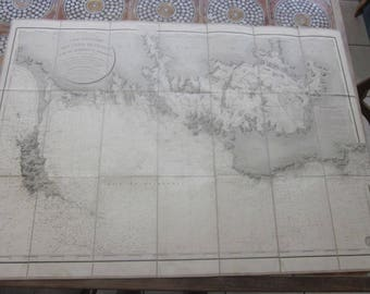 1827 Hydrographic Map of France Particulier of France => Bay of Quiberon Cote of Morbihan published by order of the King ...