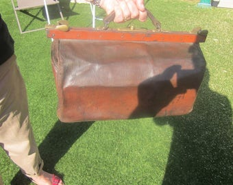 Wonderful Leather travel bag.Vintage old suitcase brown Trunk type from France 19th century good condition for its super age decor-home