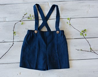 Blue Shorts with suspenders Linen boys pants Stone washed linen shorts Boys trousers Summer clothes Boys clothing