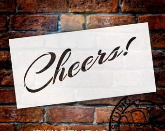 Cheers - Rising Script - Word Stencil - Select Size - STCL1333 - by StudioR12
