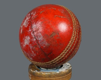 """Vintage Cricket Ball Red Brown Leather 3"""""""
