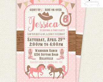 Cowgirl Birthday Invitation, cowgirl party, sherriff birthday, Printable, Digital, Pink, Brown, Horse, Pony, Country, Western