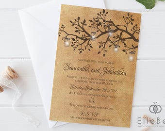 Rustic Wedding Invitation // Rustic Wedding Invites // Rustic Wedding // Branches & Lanterns // Poplar Collection