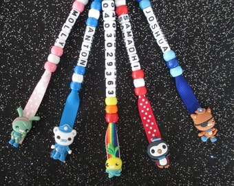 Octonauts Captain Barnacles Kwazii Peso Tweak Tunip Bag Tag Toddler Kindy Nursery Personalized Name Key ring chain Back to School Present