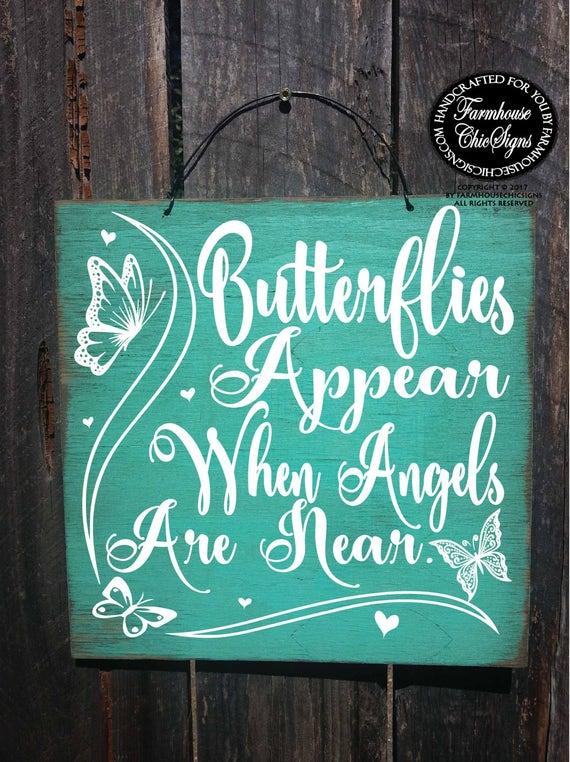 condolences, sympathy gift, condolence sign, memorial gift, memorial art, memorial sign, butterfly art, heaven sent, butterflies, 286