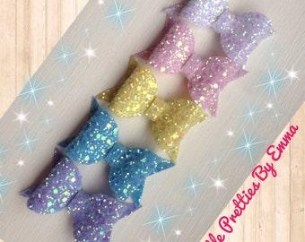Glitter hair bows, Glitter bows, Hair bow sets, Hair bow clips, Handmade hair bows, Pastel hair bows, Baby hair bows, Pink hair bows