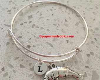 Manatee initial bangle , manatee jewelry, ocean jewelry, sea animal jewelry, manatee bangle, Florida jewelry, silver manatee bracelet