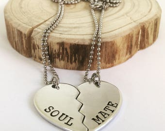 Split Heart Necklaces, Couples Matching Necklaces, Personalised His and Her Necklaces, Gifts for Best Friends, Soul Mate Pendants