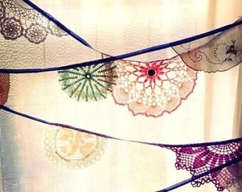 Vintage doily bunting, Wedding bunting, Vintage wedding bunting, Doily bunting, Garden party garland, Doily garland