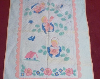 Vintage Baby Quilt With Handsewn Applique