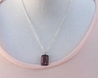 Dichroic glass pendant, gold pendant, purple pendant, small glass pendant, beautiful pendant, glass pendant, dichroic necklace,