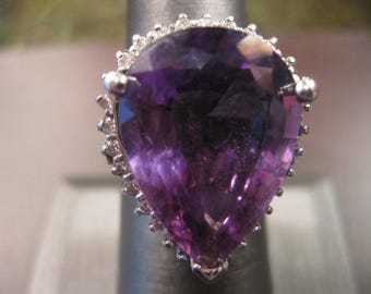 Large 14.40 CT Purple Amethyst and Diamond Ring