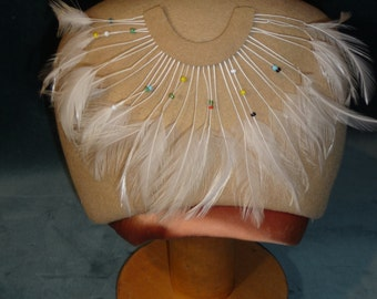 Vintage Michelle Original Camel Wool Hat - Amazon-inspired with Beads and Feathers