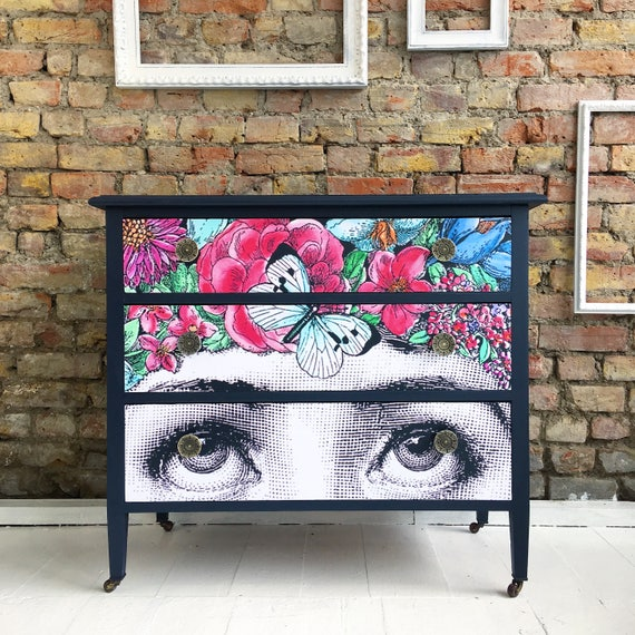 Upcycled vintage retro solid wood washstand chest of drawers