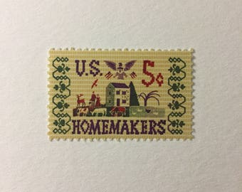 10 Vintage 5c US postage stamps - Homemakers 1964 - cross stitch sampler rustic- unused