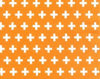 Orange Plus Sign fabric - Remix by Ann Kelle for Robert Kaufman - modern quilt fabric, modern basic, yellow geometric, Tangerine