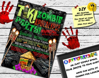 TIKI ZOMBIE APOCALYPES Party Invitation - Printable Invite - Emailable Invite (Evite) - Awesome For A Summer or Halloween Party!!!