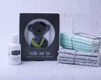 Kit Gift, baby shower, liniment creme de change, ecological washable towel Organic bamboo, night light Watch over you mom koala