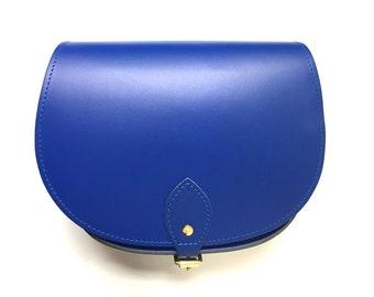 Cobalt Blue Leather Saddle Bag - Handmade In Uk - Blue Saddle Bag