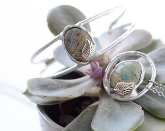 jasper stone jewelry set / Bracelet / Necklace / nickelfree