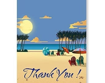 Beach Sunset Thank You Note Card - 18 Boxed Cards & Envelopes - 14085a