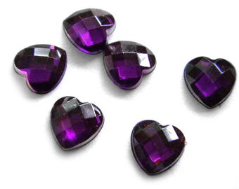 10 Purple Crystal Heart Resin Flatbacks - Resin Cabochons