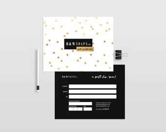 Gold confetti double sided gift certificate template - Instant download