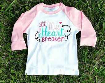 Girls Valentine Shirt - Little Miss Heart Breaker - Valentine Raglan - Pink Valentine Shirt