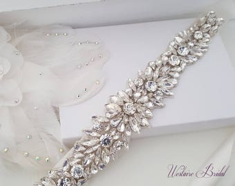 Wedding Belt, Crystal Bridal Belt, Beaded Bridal Sash, Beaded Wedding Belt, Silver Bridal Belt - Style 781