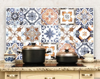 "PR00001 ""Splashguard azulejos"" 100x60 cm printed on acrylic glass Kitchen Design Stickers"