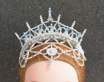 Professional Ballet Headpiece, Snow Queen Crown. Blue and Silver. Swarovski crystal & bead crown.