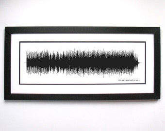 On Melancholy Hill - Music Art Sound wave Print - Song Lyric Art, Band Poster