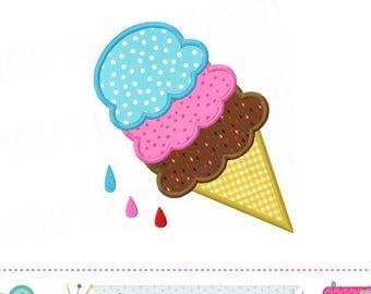 Ice cream cone applique,Ice cream cone,Ice cream applique,Summer applique,Ice cream cone design,Summer,Ice cream embroidery.-1769