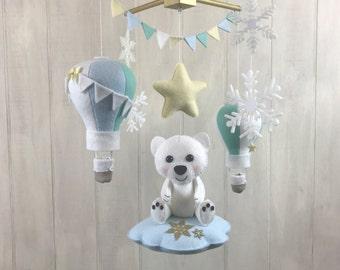 Baby mobile - polar bear mobile - arctic mobile - hot air balloon mobile - nursery decor - snowflake mobile - baby crib mobile - star mobile