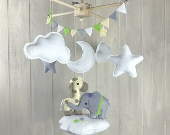 Baby mobile - elephant mobile - giraffe mobile - jungle mobile - star mobile - cloud mobile - gender neutral - baby mobiles