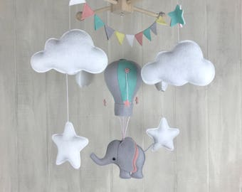 Baby mobile - hot air balloon mobile - nursery decor - travel mobile - elephant theme - cloud mobile - sky mobile - hot air balloon nursery