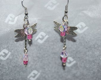 Dragonfly Earrings with Pink Beads