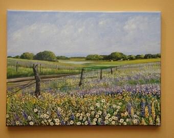 Summer Blooms, 12x16' original acrylic landscape painting