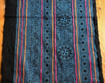 2.5 Yards Hmong Ethnic Fabric Bohemian Style Handprinted Thai Batik Textile 332