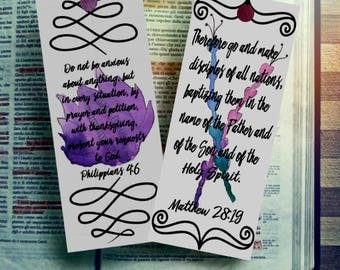 Bible Journaling  Printable Bookmark Scripture  prayer journal   prayer cards   scripture cards   watercolor flowers  bible verse